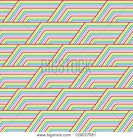 Geometric seamless pattern of colored lines. Colorful retro ornament