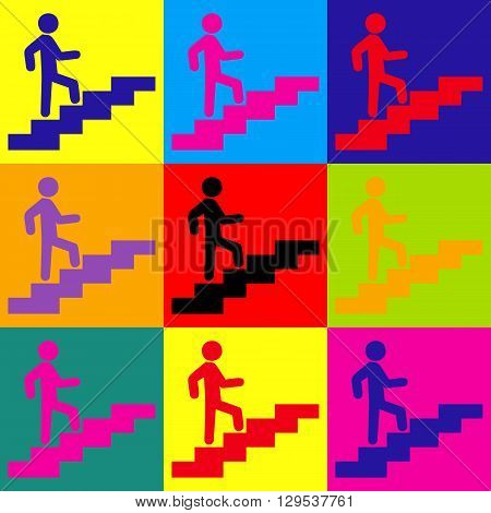 Man on Stairs going up. Pop-art style colorful icons set.