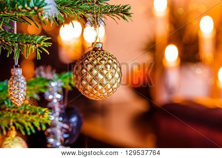 Christmas Tree With A Golden Bauble