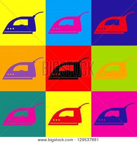 Smoothing, Iron icon. Pop-art style colorful icons set.