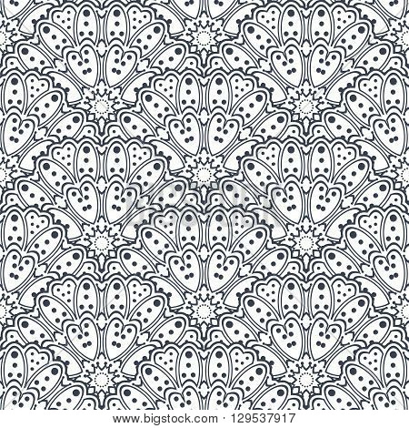 Monochrome geometric seamless pattern with abstract flowers