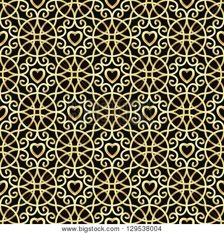 Golden ornament with hearts. Vector seamless pattern made with clipping mask