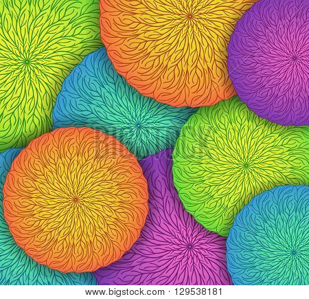 Vector colorful background with round mandala colored patterns