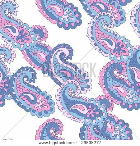 Seamless vector paisley pattern. Asian paisley background.