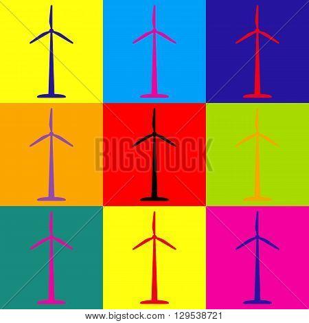 Wind turbine logo or icon. Pop-art style colorful icons set.