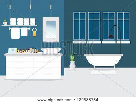 Modern Bathroom interior design with furniture bathtub sink shower and accessories Vector illustration.