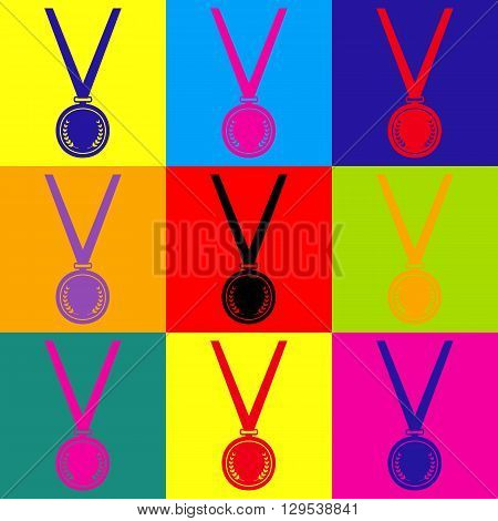 Medal simple Icon. Pop-art style colorful icons set.