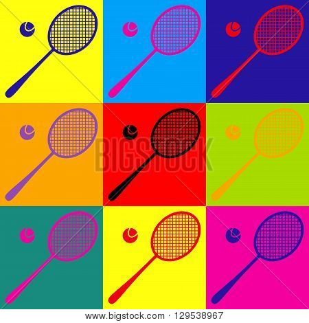 Tennis racquet icon. Pop-art style colorful icons set.
