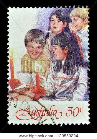 AUSTRALIA - CIRCA 1986 : Cancelled postage stamp printed by Australia, that shows Christmas motive.
