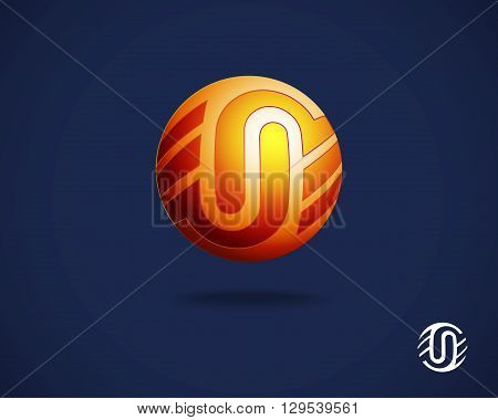 Abstract Logo Design Template. Combination of Letters U and N. Creative Concept Icon. Round Emblem. Orange Logotype on Blue Background