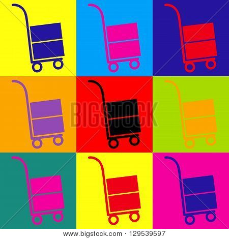 Hand truck icon. Pop-art style colorful icons set