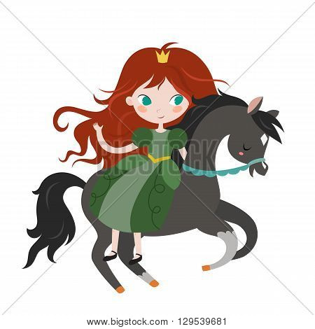 Cute cartoon princess on black horse. Vector illustration isolated on white background.