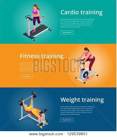 Banner set Fitness woman working out on exercise bike, Young woman with barbell flexing muscles, Pretty girl working out in a treadmill at the gym. Flat 3d isometric vector