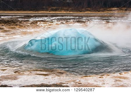 Strokkur Geyser In Iceland About To Erupt