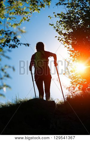 Nordic Walking Towards The Sun In Nature