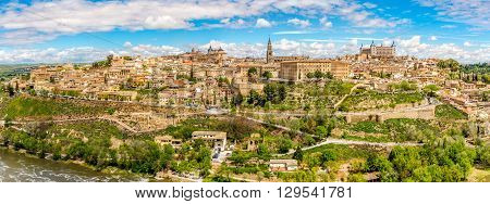 Panoramic view at the Old Town of Toledo in Spain