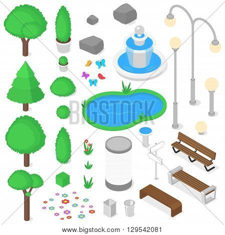 Isolated park elements set. Isometric vector illustration