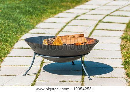 Outdoor Fireplace In A Garden