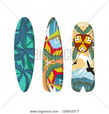 Vector flat set surfboards isolated on white background. Surfboards abstract bright pattern. Surfboards set. Surfboards collection