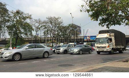 BANGKOK, THAILAND - APRIL 28: Traffic jam in rush hour at Ratchadapisek Road on April 28, 2016 in Bangkok, Thailand.