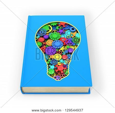 Blue Book that has a slit in the form of a light bulb inside which multicolored shesterni.Izolovanyy on a white background. 3D illustration