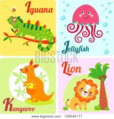 Cute zoo alphabet in vector. I j k l letters. Funny animals for ABC book. Jellyfish iguana kangaroo lion