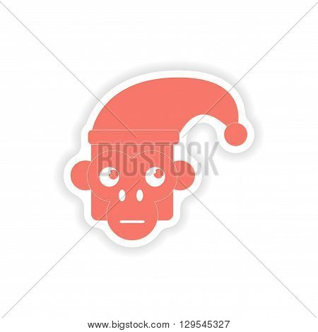 paper sticker on white background  monkey cap