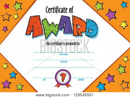 template vector of child diploma or certificate to be awarded. kindergarten Preschool kids Diploma design template. vector horizontal certificate for competition, art contest or sports winner.