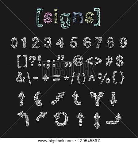 Set of hand drawn doodle numbers signs punctuation arrows. English uppercase scribbled sanserif font. Vector chalk lettering design.