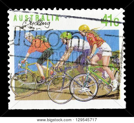 AUSTRALIA - CIRCA 1989 : Cancelled postage stamp printed by Australia, that shows Cycling.
