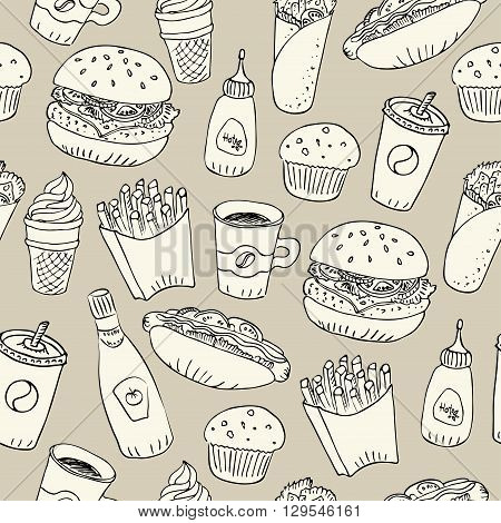 Hand drawn fast food doodle seamless pattern. Papercut with black outline design. Hot dog burger fries soda coffee and dessert for menu and web design.