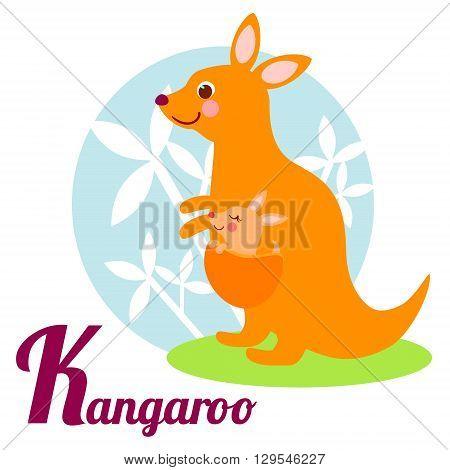Cute animal alphabet for ABC book. Vector illustration of cartoon kangaroo. K letter for the Kangaroo