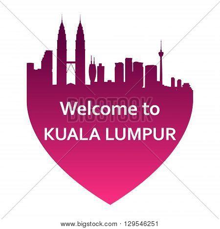 Vector illustration of Kuala Lumpur skyline in heart shape. Welcome to Kuala Lumpur