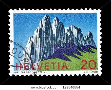 SWITZERLAND - CIRCA 1969 : Cancelled postage stamp printed by Switzerland, that shows Alpstein mountains.
