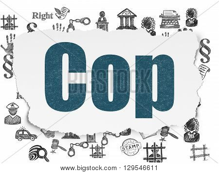 Law concept: Painted blue text Cop on Torn Paper background with  Hand Drawn Law Icons