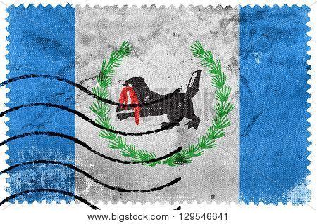 Flag Of Irkutsk Oblast, Old Postage Stamp