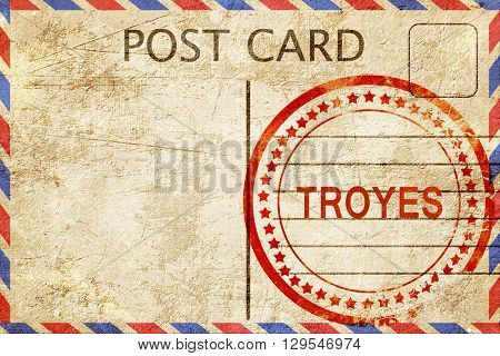 troyes, vintage postcard with a rough rubber stamp