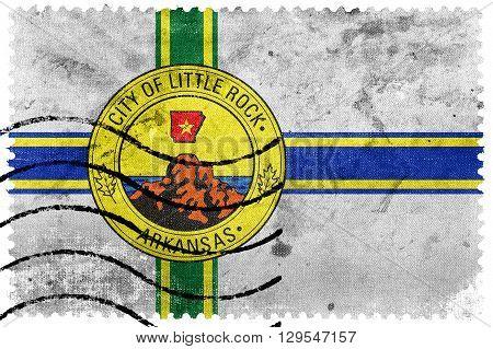 Flag Of Little Rock, Arkansas, Old Postage Stamp