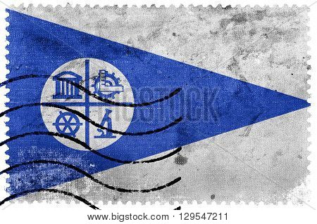Flag Of Minneapolis, Minnesota, Old Postage Stamp