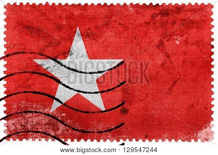 Flag of Maastricht old postage stamp, vintage look
