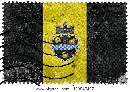 Flag Of Pittsburgh, Pennsylvania, Old Postage Stamp