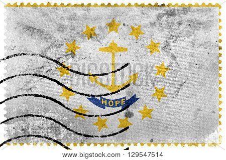 Flag Of Rhode Island, Old Postage Stamp