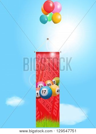 Red Banner with Bingo Balls Bingo Cards and Grass Flying with Balloons Over Blue Sunny Sky