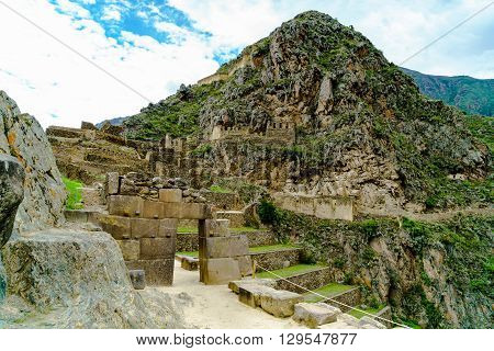 Ruins of Ollantaytambo the Inca archaeological site near the city of Cusco in southern of Peru