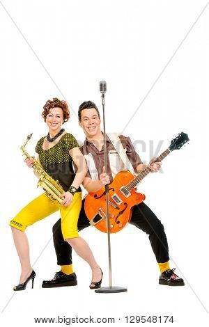 Guitarist and saxophonist duo in the style of the 60s. Rock'n'roll, jazz. Beat generation. Isolated over white.
