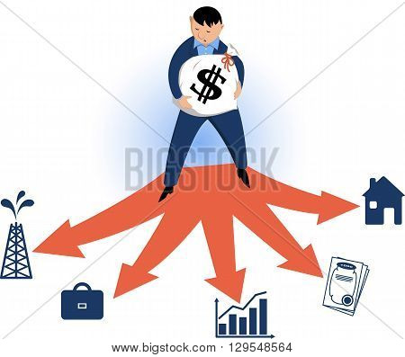 Man choosing types of investments, EPS8 vector illustration