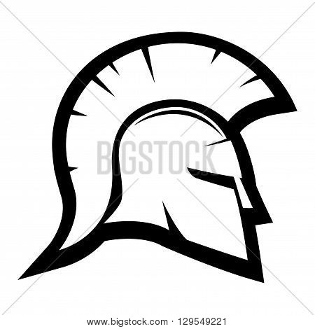 Black sign of Spartan helmet on a white background.