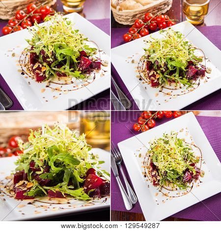 fresh vegetarian salad from beet and arugula in white dish