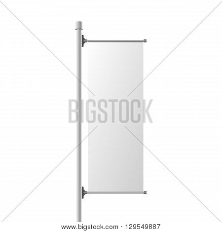 Street Banner realistic Mockup. Commercial Billboard Template for Your Design. Vector Illustration