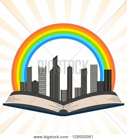 Illustration of a book with a rainbow over city on a white background